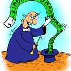 """Карикатура. фокус покус. фокусник вытаскивает из шляпы деньги. фокусник, цирк, шляпа, деньги, идея, инфляция, валюта, <span class=\""""hilite\"""">доллары</span>"""