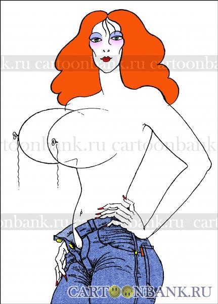 Карикатура. Шариковая секс-бомба. Дама, которой сделали пластику бюста орально-мануальным способом. На долго ли? Скоро лопнет!. дама, тетка, баба, грудь, бюст, сиськи, шарики