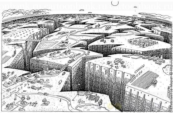 """Карикатура. Город. Плодородная земля, изрезана глубокими трещинами - это и есть города на нашей планете.. Земля, экономика, экология, городская, среда обитания, село, деревня, колхоз, совхоз, фермерство, эрозия, <span class=""""hilite"""">цывилизация</span>, урбанизация, мегаполис, сельское хозяйство, поля, урожай, посевная, трещины, пейзаж, пропасть, зерноводство, агрокультура, животноводство"""